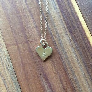 Gold Heart Necklace with Initial R Stamp